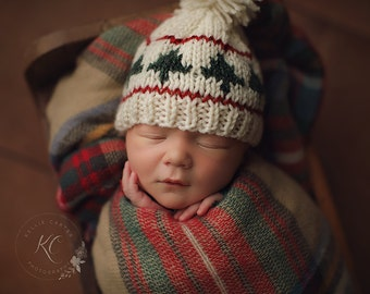 Newborn knit Christmas tree hat in cream, evergreen, and deep red