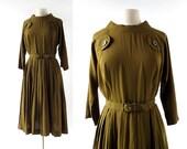 RESERVED Vintage 1950s Dress | Olive Green Dress | 50s Dress | Medium M RESERVED