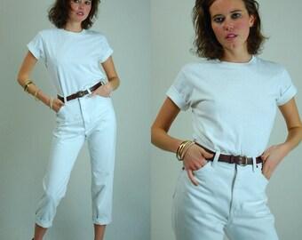 White T Shirt Vintage Classic Crisp Minimalist Androgynous White Cotton Ringer T Shirt (s m)