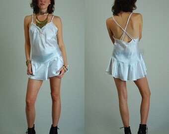 Slip Top Vintage White Plunging Satin and Lace Peplum Slip Mini Dress (s m)