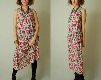 Floral Maxi Dress Vintage Beige + Coral Spring Floral Draped Sleeveless Grunge Maxi Dress (s m)