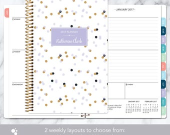 2018 planner | 2017-2018 calendar | weekly student planner add monthly tabs | personalized planner agenda daytimer | lavender gold confetti