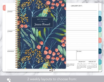 personalized planner 2017 & 2018 calendar | add monthly tabs custom weekly student planner | planner agenda | navy watercolor floral
