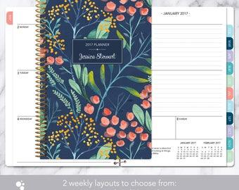 Agenda personnalisé calendrier 2017 et 2018 | Ajouter ce mois-ci onglets personnalisés étudiant hebdomadaire | agenda planificateur | Aquarelle marine floral
