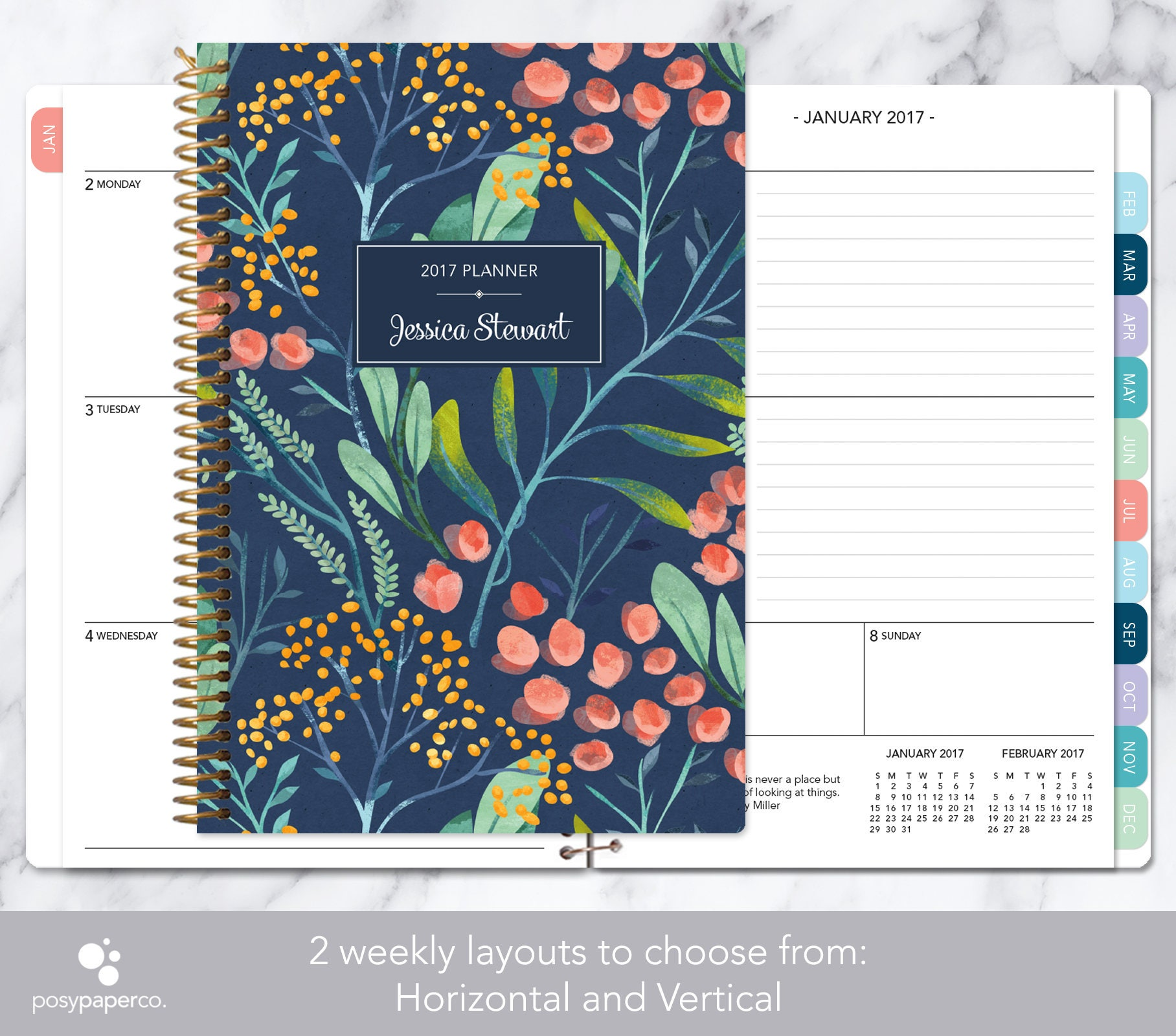 personalized planner 2017 2018 calendar add monthly tabs