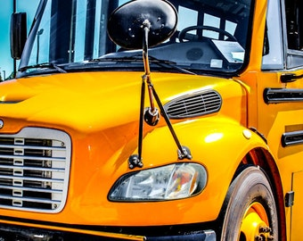 Yellow School Bus Photography, Automotive, Auto Dealer, Muscle, Sports Car, Mechanic, Boys Room, Garage, Dealership Art