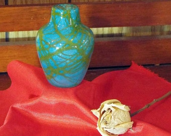 Teal and Gold Miniature Hand Blown Vase