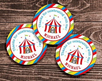 Personalized Circus Party Favor Tags or Stickers – 2, 2.5 or 3 Inch Circles – DIY Printable – Big Top Red (Digital File)