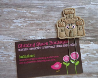 Planner Accessories - Light Brown Smiley Faced Summer Sandcastle Paper Clip Or Bookmark - Accessories For Beach Planners Or Calendars