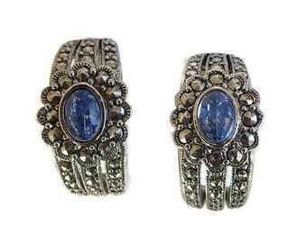 Blue Rhinestone & Marcasite Earrings Half Hoop Vintage by Avon