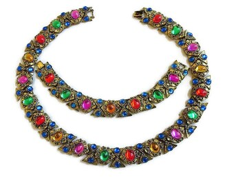 Poured Glass Mogul Moghul Necklace & Bracelet Vintage Set