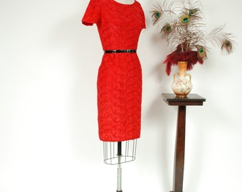 Vintage 1950s Dress - Vibrant Red Taffeta 50s Wiggle Dress with Deep Red Embroidered Vines - Cupid's Kiss