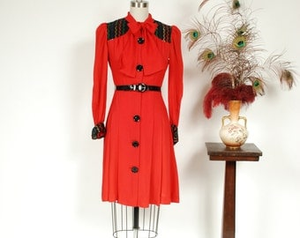 Vintage 1970s Dress - Fantastic 1940s Style Red Crepe and Sequin Black Rayon Color Block Dress with Black Buttons and Kitten Bow