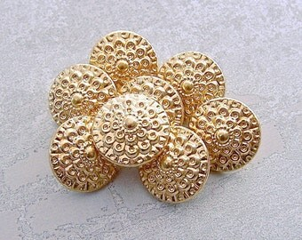 Gold Flower Buttons, 15mm 5/8 inch - Thousand Petal Flower Bright Gold Tone Metal Buttons - 8 VTG NOS Gold Floral Shank Buttons MT100