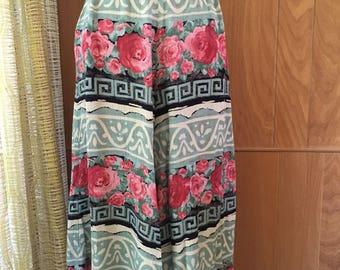 Vintage 90s Culottes Skort High Waist  Midi Skirt Look Hippie Festival Look