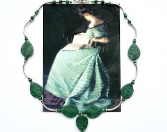 GREEN LEAVES Choker, Art Nouveau Choker, Green Silver Necklace, Cottage Chic Necklace, Fine Jewelry, Bridal Jewelry, Modern Choker,