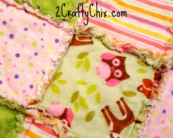 Forest Animals Girl Flannel Rag Edge Quilt 30in by 40in Handmade for Babies, Toddlers and Kids