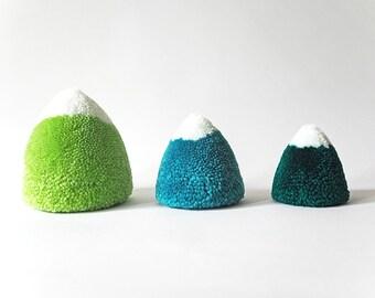 Snow-capped Mountain Pom Poms, set of 3, decoration, plushie