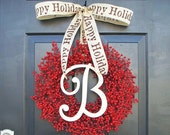 CHRISTMAS WREATH SALE Monogram Winter Wreath, Christmas Wreath, Red Berry Wreath, Christmas Wreath, Happy Holidays-  Featured in Better Home