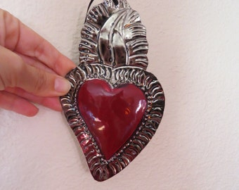"""Colorful Sacred Heart Mexican Tin Ornament- Perfect for the one you love- 6.3"""""""
