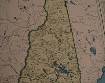 1945 State Map New Hampshire - Vintage Antique Map Great for Framing