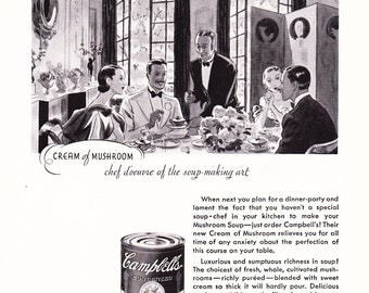 1930s Advertisement - Campbells Cream of Mushroom Soup - Vintage Antique 30s Era Art Ad for Framing