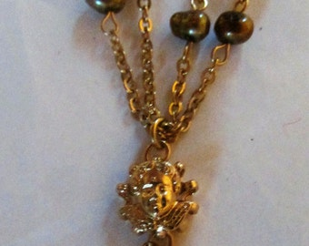 Vintage Kirks Folly Gold Angel Cherub Necklace Genuine Pearl Necklace Designer Signed Vintage Jewelry Statement Necklace Double Strand