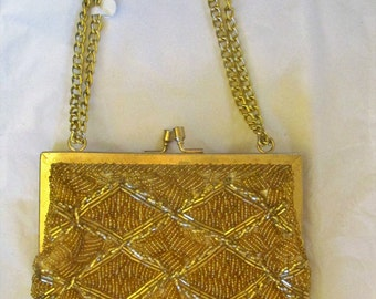La Regale Gold Beaded Evening Bag Vintage Purse Chain Handle Kiss Clasp Metal Frame Shoulder Bag Hong Kong 1960s 60s