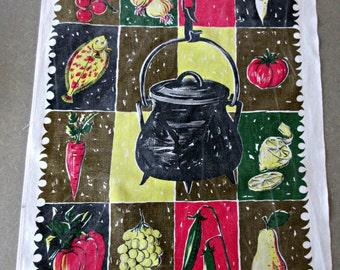 Vintage Tea Towel, Midcentury Graphics, Val de Sevre, Kitchen Towel, Food Graphics, Mod Graphics Tea Towel, Cotton Towel, Retro Kitchen