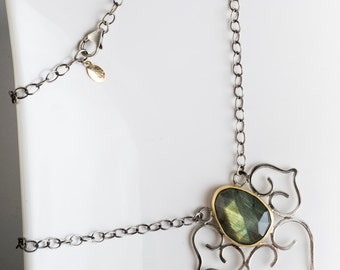 Devani Statement Necklace w/ Labradorite in Gold & Silver