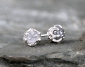 Raw Diamond Earrings - Sterling Silver Filigree Inspired - 1 Carat Stud Earring - April Birthstone - Uncut Gemstone - Conflict Free Diamonds