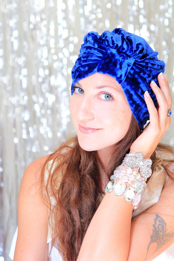 Royal Blue Turban Hat - Crushed Velvet - Fashion Hair Wrap - Lots of Colors