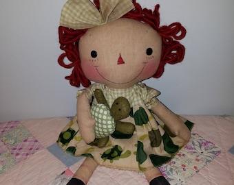 Primititve raggedy doll pattern, Tea Time Turtle with Raggedy Doll Pattern, Sewing Doll Pattern, HFTH220
