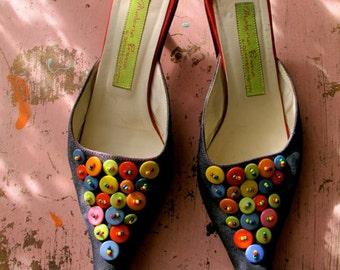 Vintage Kitten Heels, Materia Prima shoes size 38, Made in Italy Kitten Heel Shoes, Fantini Mules, Italian Designer Shoes, Kitten Heels