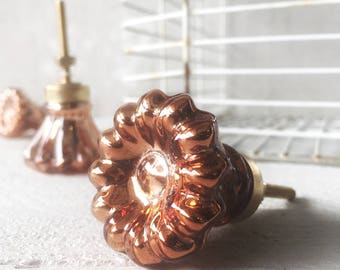 Mercury Glass Copper Knobs, Small Knobs, Boho Style, Drawer Pulls