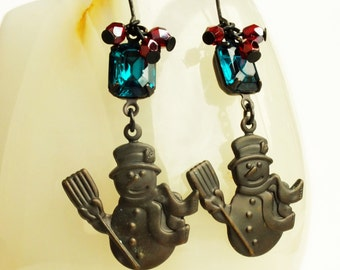 Snowman Earrings Christmas Jewelry Antiqued Brass Earrings Vintage Style Christmas Earrings Snowman Jewelry