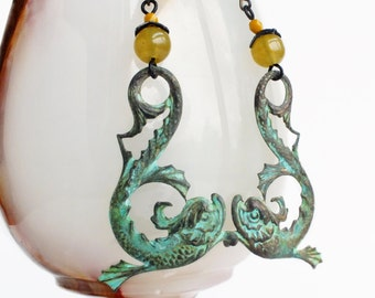 Large Statement Fish Dangle Earrings Verdigris Seahorse Jewelry Sea Dragon Victorian Dolphin Earrings Sea Monster Creature Jewelry