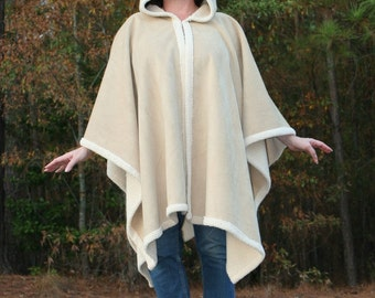Beige Faux Suede and Ivory Sherpa Hooded Fleece Poncho or Cape