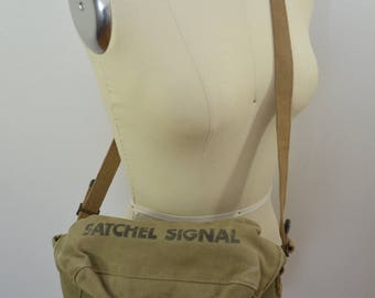 Vintage U.S. Army SATCHEL SIGNAL Canvas small bag ruck sack