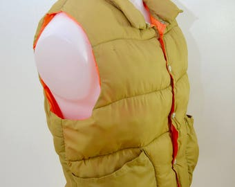 Vintage REVERSIBLE Hunting Vest puffy down BLAZE orange and brown