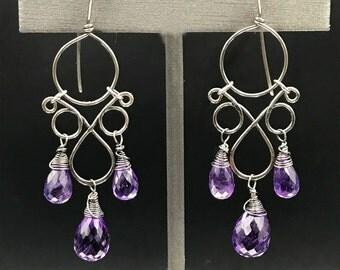 Amethyst Earring Chandelier Wire Wrap Oxidized Silver Chandelier Earring Boho Chic Earring Amethyst Teardrop Briolettes February Birthstone