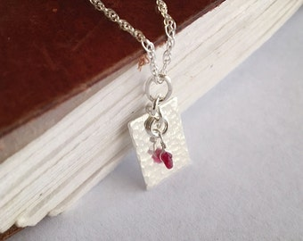 Silver Ruby Necklace / Silver Hammered Necklace / Small Silver Pendant /Feminine Emerald Necklace /Sapphire Hammered Pendant /Small Necklace