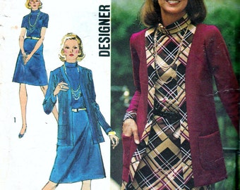 1970s Vintage Sewing Pattern 70s Dress Pattern Shift Dress Cardigan Jacket Pattern Designer Fashion Simplicity 5908 Retro Sewing Bust 38