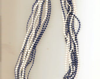 Vintage Blue White Plastic Bead Strand Necklace