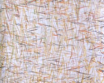 Marbled Paper with Wheat Double Marbled Pattern Featuring Yellow ochre, Orange Ochre, Green, and Gray.