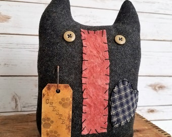 Chester, A Primitive Folk Art Kitty Cat Wool Art Doll Shelf Sitter