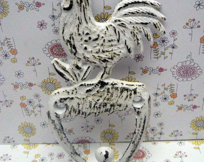 Rooster Shabby Elegance Cast Iron White Distressed Pet Leash Key Jewelry Hand Towel Hook Rustic French Country Kitchen Mudroom Farmhouse