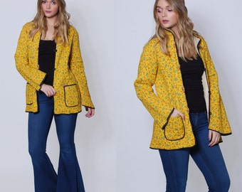 Vintage 70s Yellow QUILTED Jacket CALICO Floral Jacket Cotton Hippie Jacket Vintage Floral Jacket