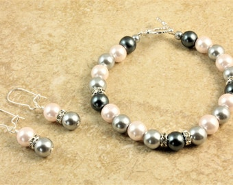 Pink and Gray Glass Pearl Wedding Bracelet and Earrings Bridesmaid Bridal