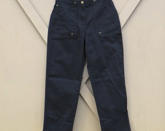 90s vintage Jones New York Dark Black Cotton High Waist Tapered Leg Pants